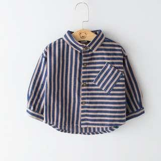 Babybitbit |Baby Boy Long Sleeve Yarn Dyed Shirt with Peached and Soft handfeel | B701