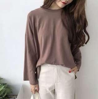 ✨ brown basic ulzzang korean oversized long sleeves tshirt top // instock