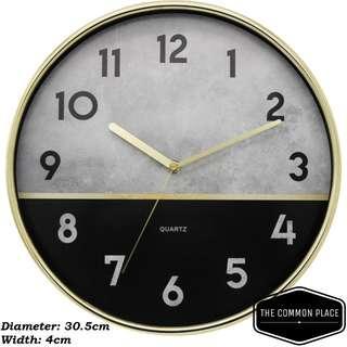 INSTOCK Nordic Patterned Grey/Black Gold Rim Wall Clock