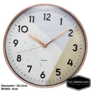INSTOCK Scandinavian Wood Patterned Rose Gold Wall Clock