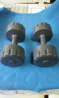 1 pair  (5kg x2) Vinyl Dumb Bell (Silver) Colour.