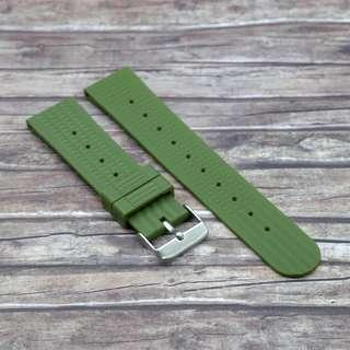 [22mm] MILITARY GREEN STRAPOWAFFLE RUBBER STRAP