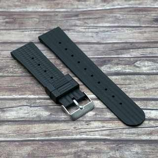 [22mm] CARBON BLACK STRAPOWAFFLE RUBBER STRAP
