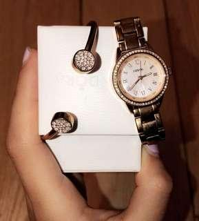 Fossil Mini Rose Gold Watch + Bracelet
