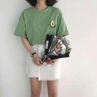 [PO] Korean Style Avocado Embroidered Top
