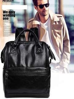 Backpack hitam black square leather kulit