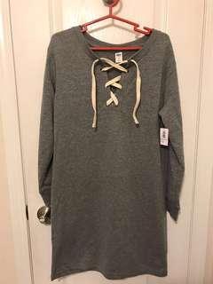 BNWT Lace-Up Grey Sweater Dress (Extra Small Petite) (XS)