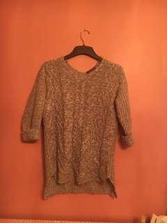 Grey long knit sweater