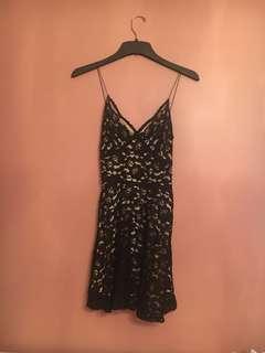 Zara black and nude lace dress