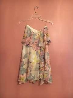 Strapless floral formal dress