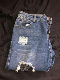 Mirrou Fishnet Ripped Jeans