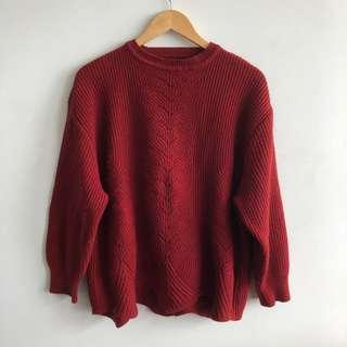 Vintage Knit Red Sweater