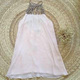 Blush Pink Beaded Cocktail Dress