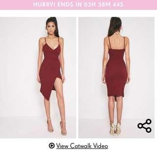 Pretty little thing burgundy wrap midi dress