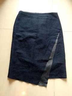 ZARA SKIRT WITH FAUX LEATHER APPLIQUE, harga belum ongkir
