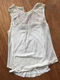BERSHKA - off white embroidered lace top