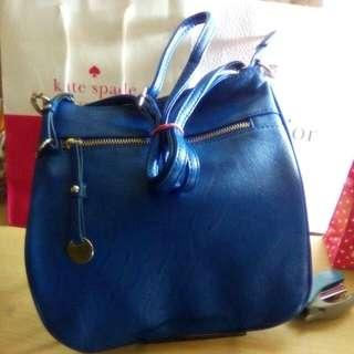Imported, New Blue Leather XXI Shoulder Bag