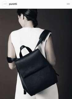 Purotti Genuine Leather Backpack in black
