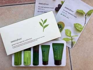 Innisfree Green Tea Special Collection Travel Kit (w/ free face masks)