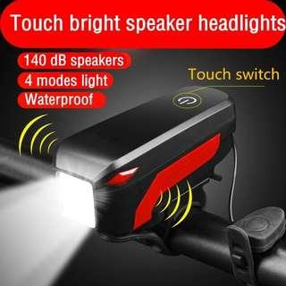 Bicycle Front Light Waterproof LED Light With Horn (USB Rechargeable)
