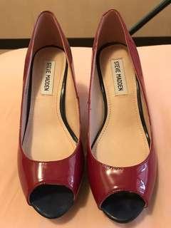 🚚 《二手》STEVE MADDEN桃紅白跟魚口鞋