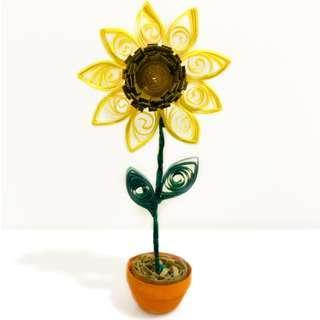 🚚 Sunflower Pot Quilling Art