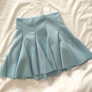Sky Blue Pleated Skirt