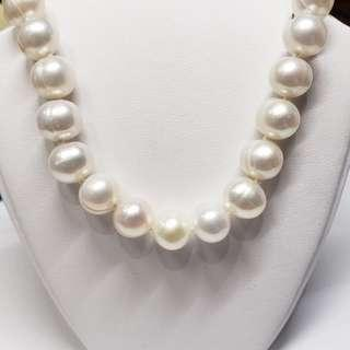 Stamped 925 Sterling Silver Freshwater Pearl Necklace,