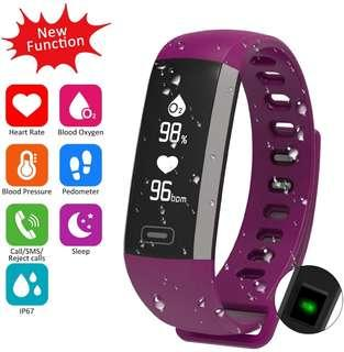 (E639) Waterproof Fitness Activity Tracker Heart Rate Monitor Sleep Blood Pressure Oxygen Monitor Pedometer Smart Bracelet Step Tracker/Calorie Counter/Sedentary/Drink/Call/SMS Reminder for Android & iOS
