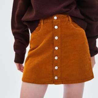 [PO] Orange Corduroy Mini Skirt