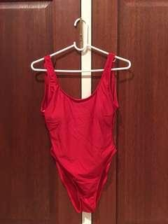 New padded sexy red one piece swimsuit