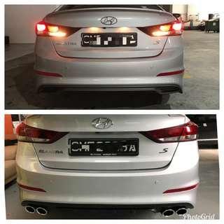 (Ready Stock) Hyundai Elantra 2016-2018 AD 4 Round Throttles Diffuser Bumper Exhaust DIY