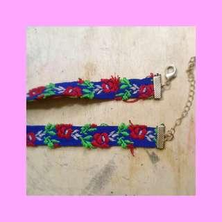 blue embroidered choker