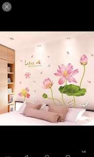 ✔Instock Lotus Wall Stickers Living Room Bedroom Office Background Wall Self-adhesive wall stickers Decorative applique diy home Decor