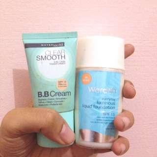 Wardah everyday luminous liquid foundation & Maybelline Clear Smooth BB Cream