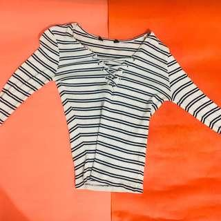 Ribbed stripped long sleeves
