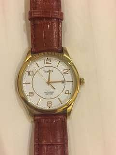 Timex golden face & leather strap, glow in the dark #SBUX50