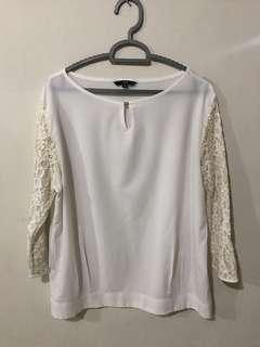 H&M Lace sleeve blouse kemeja renda putih