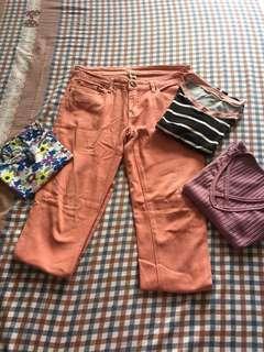 Peach pants + three cropped tees bundle!