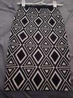 Ladies size XS black/white skirt