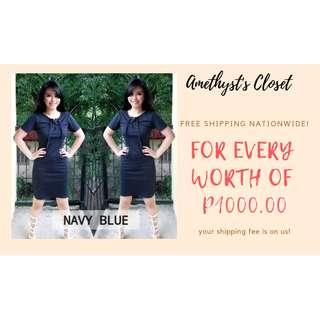 Elyse Lace-Up Bodycon x Navy Blue