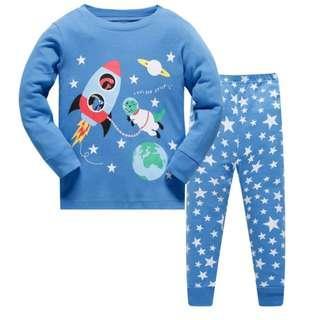 🚚 KOR122 Toddler Kids Pajamas PJs Sleepwear - Rockets Size 3Y / 8Y
