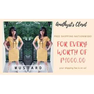 Elyse Lace-Up Bodycon x Mustard