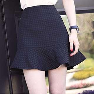 (NEW) Black Fishtail Mosaic Skirt