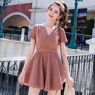 (SALE) Red Striped V-Neck Skater Dress