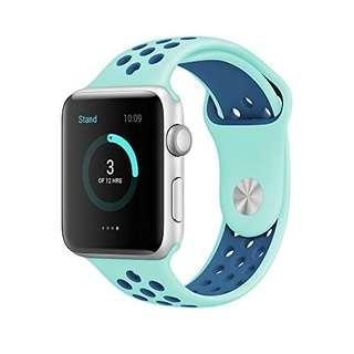 (E645) Elobeth for Apple Watch Band Series 1 Series 2 Soft Sports Silicone Bracelet Strap Wristband Replacement Watchband with Adjustable Buckle and Quick Release for Apple iWatch (38mm, Dark blue/Light blue)