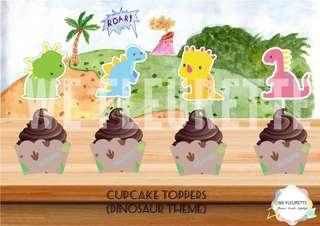 Dinosaur Theme Cupcake Toppers & Wrappers