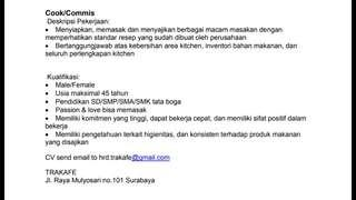 Lowker cook/commis