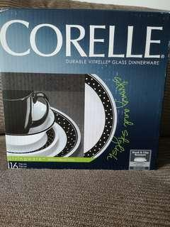 Corelle Brilliant Black Dot 16pcs
