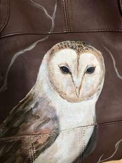 Hand painted lamb nappa sling bag by professional bag artist